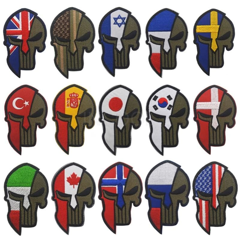 Skull Spartan National Flag Tactical Patches - Patches Patches