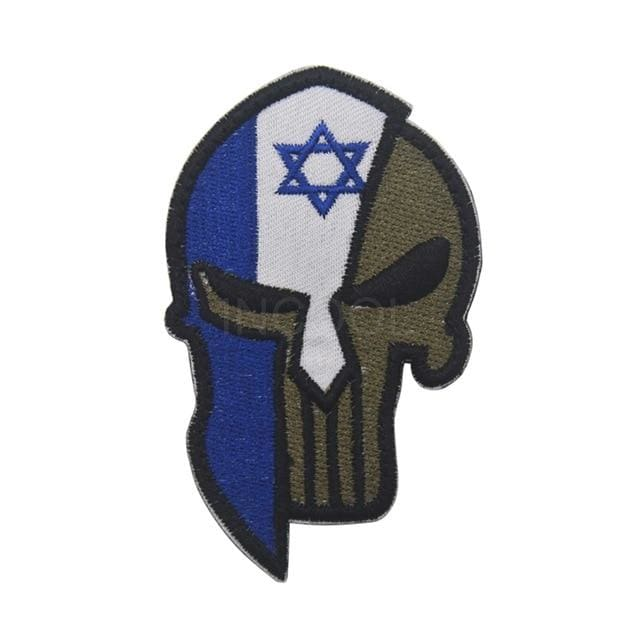 Skull Spartan National Flag Tactical Patches - Israel - Patches Patches