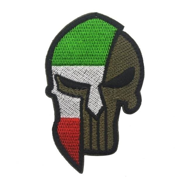 Skull Spartan National Flag Tactical Patches - Italy - Patches Patches