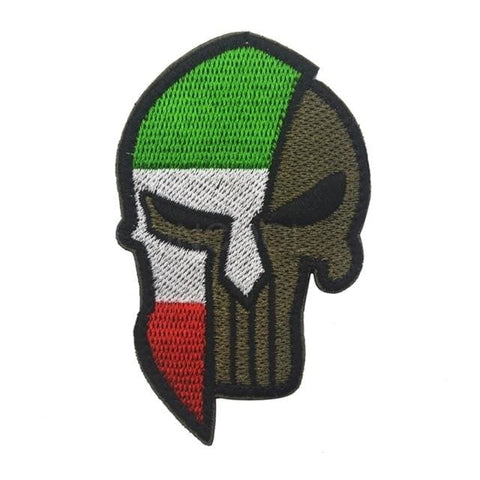 Image of Skull Spartan National Flag Tactical Patches - Italy - Patches Patches