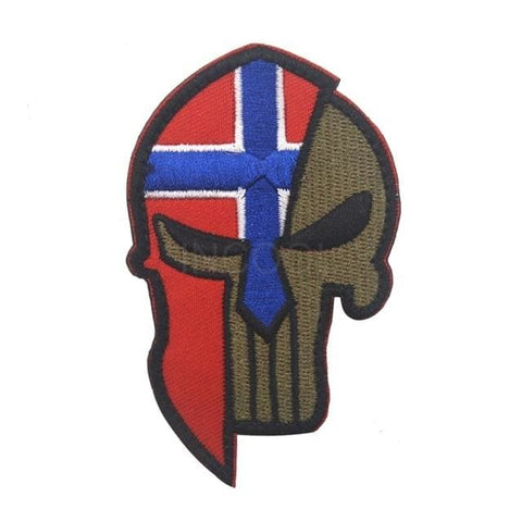 Image of Skull Spartan National Flag Tactical Patches - Norway - Patches Patches