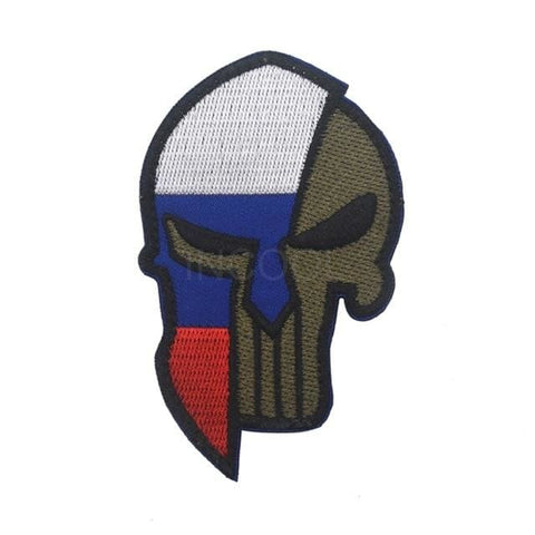 Image of Skull Spartan National Flag Tactical Patches - Russia - Patches Patches