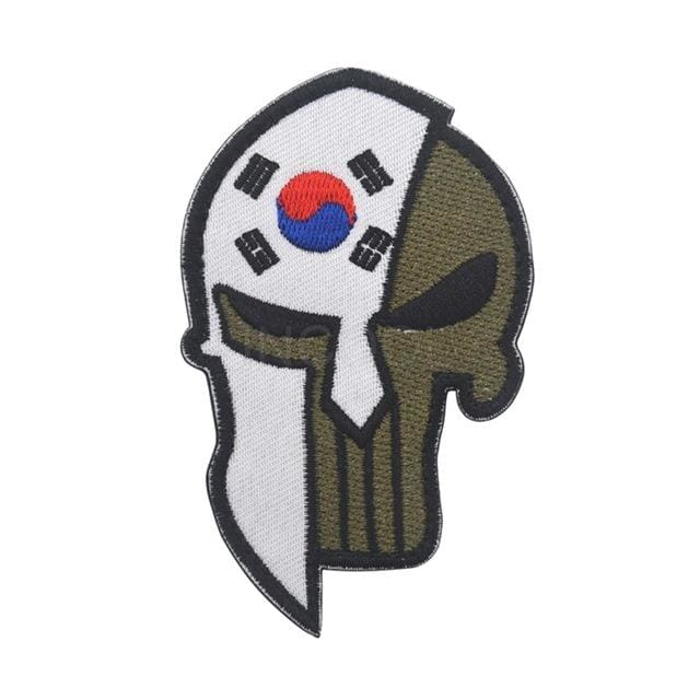 Skull Spartan National Flag Tactical Patches - South Korea - Patches Patches