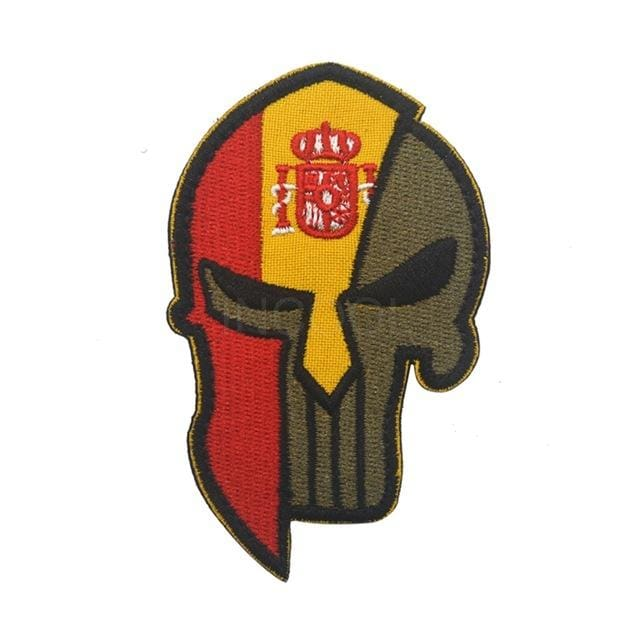 Skull Spartan National Flag Tactical Patches - Spain - Patches Patches