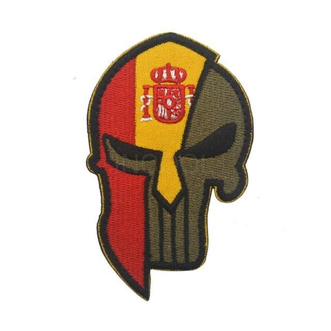 Image of Skull Spartan National Flag Tactical Patches - Spain - Patches Patches