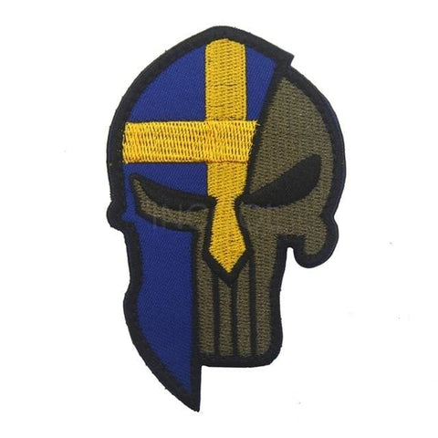 Image of Skull Spartan National Flag Tactical Patches - Sweden - Patches Patches