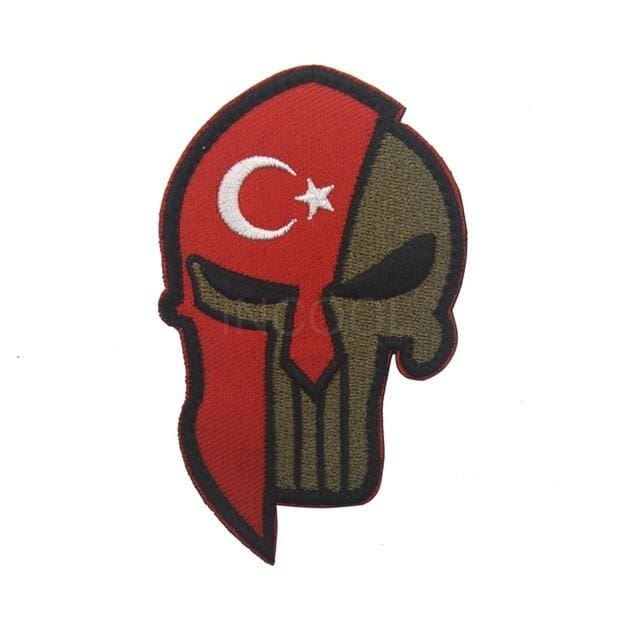 Skull Spartan National Flag Tactical Patches - Turkey - Patches Patches