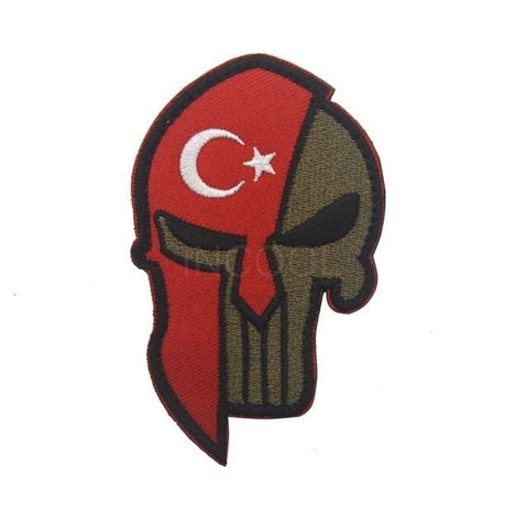 Image of Skull Spartan National Flag Tactical Patches - Turkey - Patches Patches