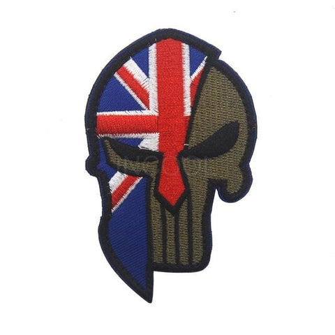 Image of Skull Spartan National Flag Tactical Patches - United Kingdom - Patches Patches