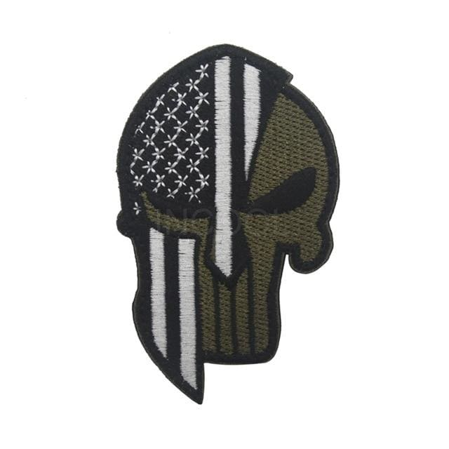 Skull Spartan National Flag Tactical Patches - United States Black - Patches Patches