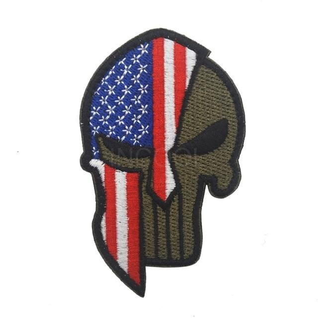 Skull Spartan National Flag Tactical Patches - United States Blue - Patches Patches