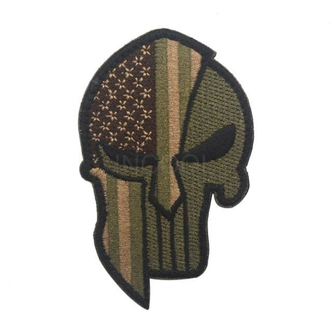 Image of Skull Spartan National Flag Tactical Patches - United States Brown - Patches Patches