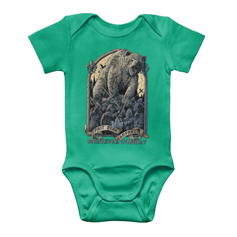 Spirit Bear Company - Medieval Combat Classic Baby Onesie Bodysuit - Kelly Green / To 3 Months - Apparel Apparel