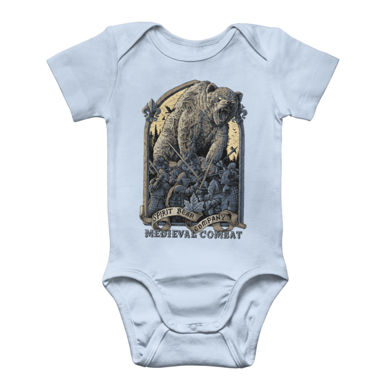 Spirit Bear Company - Medieval Combat Classic Baby Onesie Bodysuit - Light Blue / To 3 Months - Apparel Apparel