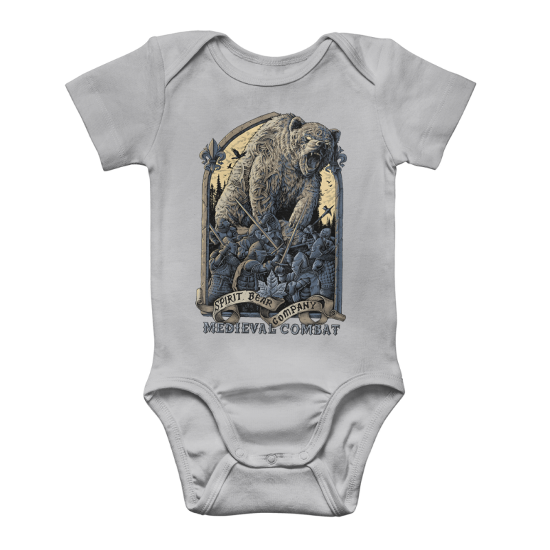 Spirit Bear Company - Medieval Combat Classic Baby Onesie Bodysuit - Light Grey / To 3 Months - Apparel Apparel