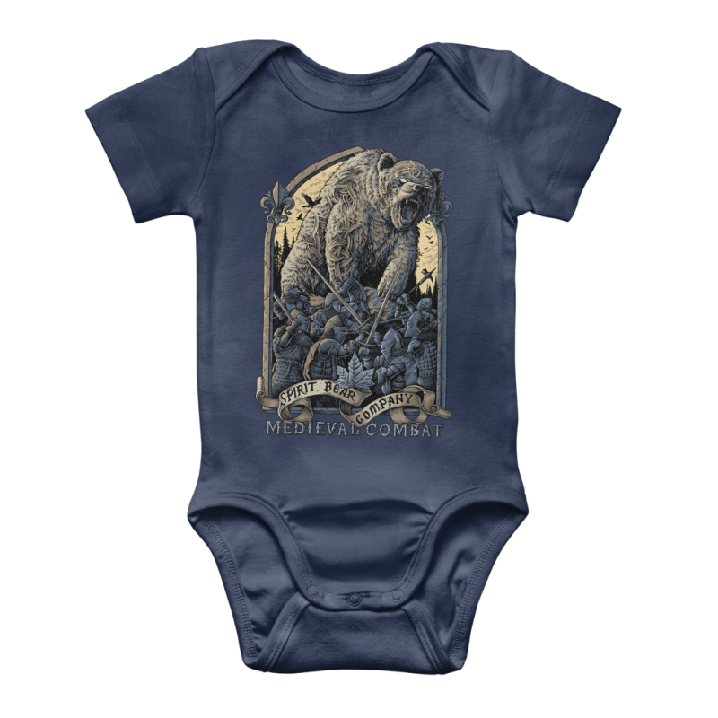 Spirit Bear Company - Medieval Combat Classic Baby Onesie Bodysuit - Navy / To 3 Months - Apparel Apparel