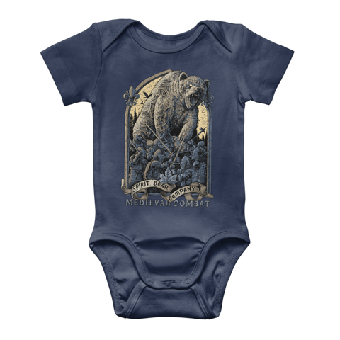 Image of Spirit Bear Company - Medieval Combat Classic Baby Onesie Bodysuit - Navy / To 3 Months - Apparel Apparel