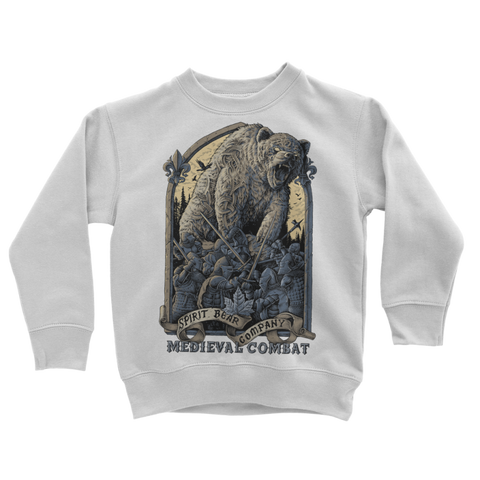 Image of Spirit Bear Company - Medieval Combat Classic Kids Sweatshirt - Arctic White / 3 To 4 Years - Apparel Apparel Spiritbear