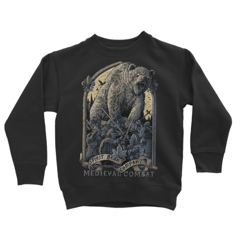 Image of Spirit Bear Company - Medieval Combat Classic Kids Sweatshirt - Jet Black / 3 To 4 Years - Apparel Apparel Spiritbear