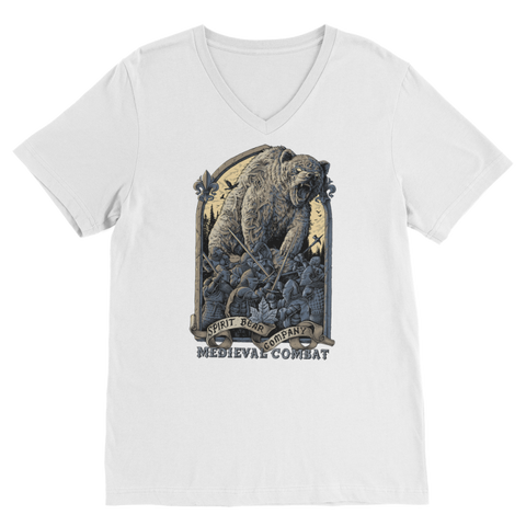 Image of Spirit Bear Company - Medieval Combat Classic V-Neck T-Shirt - White / Unisex / S - Apparel Apparel Spiritbear