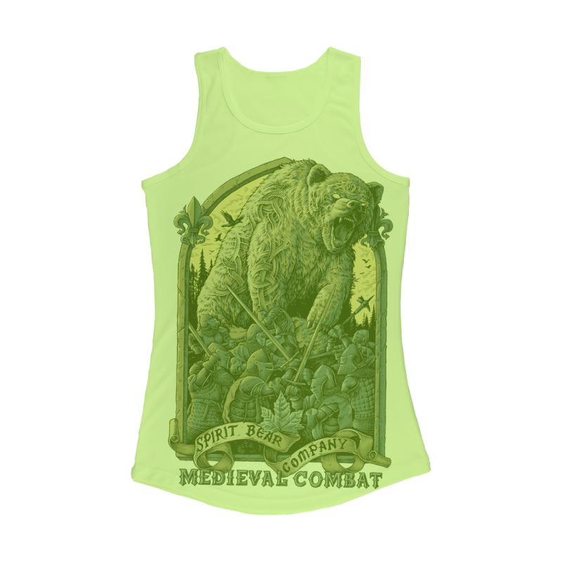 Spirit Bear Company - Medieval Combat Women Performance Tank Top - Electric Green / Xs - Apparel Apparel Spiritbear