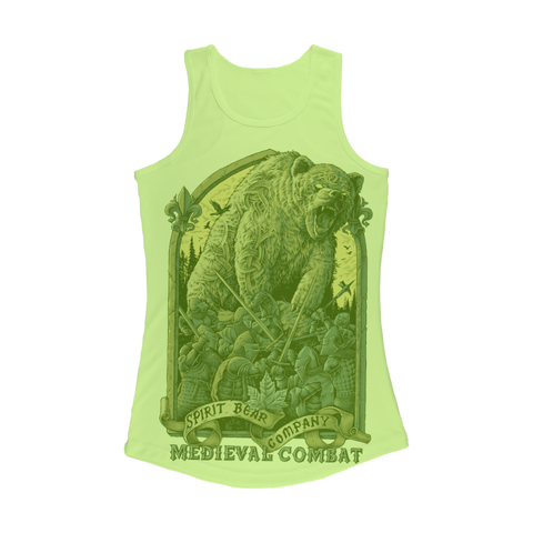 Image of Spirit Bear Company - Medieval Combat Women Performance Tank Top - Electric Green / Xs - Apparel Apparel Spiritbear