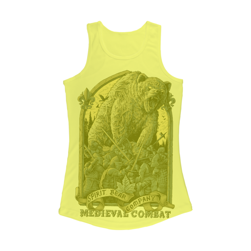Spirit Bear Company - Medieval Combat Women Performance Tank Top - Electric Yellow / Xs - Apparel Apparel Spiritbear