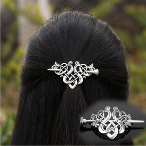 Stainless Steel Celtic Weave Pin-Style Hair Barrette - Hair Jewelry Celtic Hair Vikings
