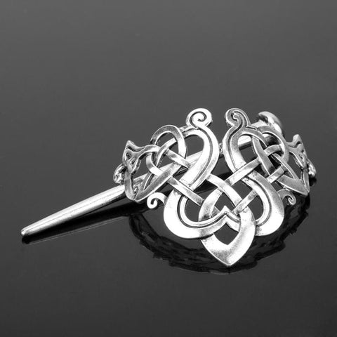 Image of Stainless Steel Celtic Weave Pin-Style Hair Barrette - Hair Jewelry Celtic Hair Vikings