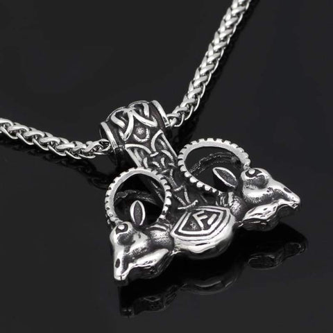 Image of Stainless Steel Goat Thors Mjolnir Rune Necklace - Necklace Necklace Vikings