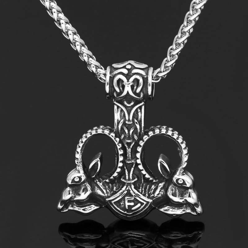 Stainless Steel Goat Thors Mjolnir Rune Necklace - Necklace Necklace Vikings