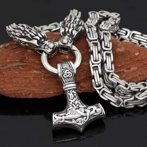 Image of Stainless Steel Wolf Head With Mjolnir Necklace - 1 - Necklace Necklace Vikings