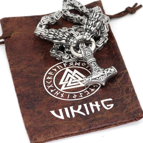 Image of Stainless Steel Wolf Head With Mjolnir Necklace - Necklace Necklace Vikings