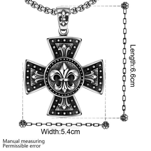 Image of Templar Titanium Cross - Pendant Necklaces Jewelry Knights Necklace