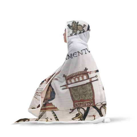 Image of The Bayeux Tapestry Hooded Blanket - Hooded Blanket Blankets Hooded Blankets