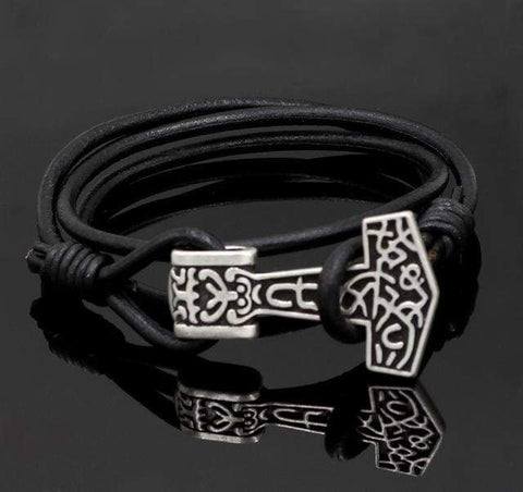 Image of Thors Hammer Real Leather Bracelet - Bracelet Vikings