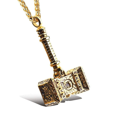 Image of Thors Hammer Stainless Steel Necklace - Gold - Viking Necklace Jewelry Necklace Vikings