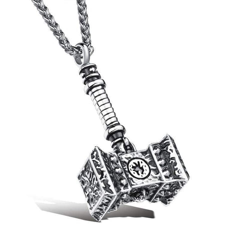 Image of Thors Hammer Stainless Steel Necklace - Silver - Viking Necklace Jewelry Necklace Vikings