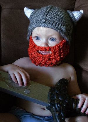 Toddler Crochet Viking Hat With Beard - Hats & Caps
