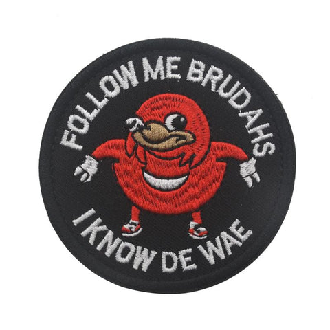 Ugandan Knuckles Patch Follow Me I Know De Wae Hook & Loop Patch - Patches Patches