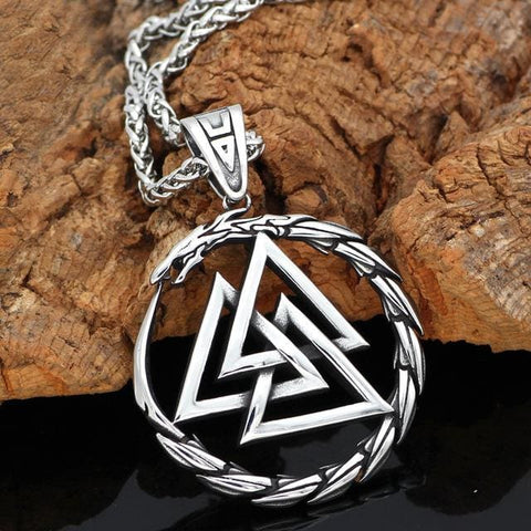 Image of Valknut Amulet Dragon Pendant Necklace - Liantiao - Vikings
