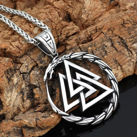 Image of Valknut Amulet Dragon Pendant Necklace - Vikings