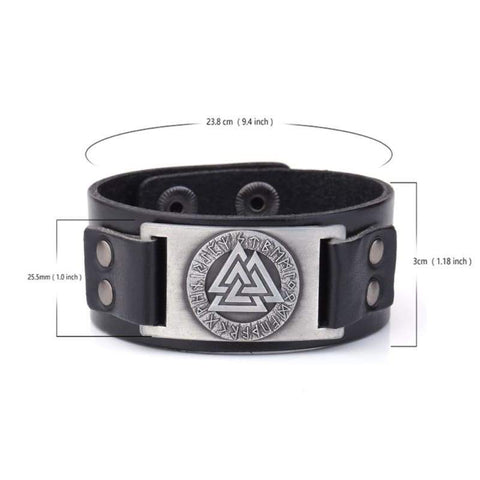 Image of Valknut Leather Bracelet - Wrap Bracelets Accessories Bracelet Jewelry Viking Vikings