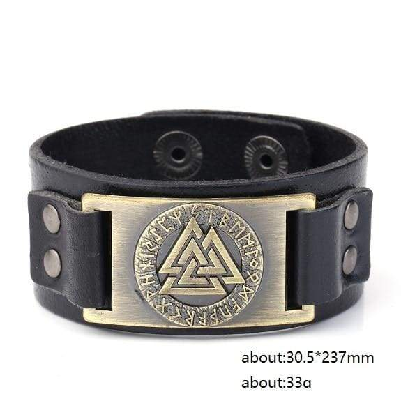 Valknut Leather Bracelet - Antique Bronze - Wrap Bracelets Accessories Bracelet Jewelry Viking Vikings