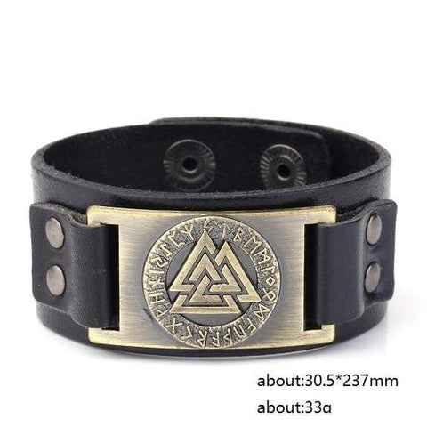 Image of Valknut Leather Bracelet - Antique Bronze - Wrap Bracelets Accessories Bracelet Jewelry Viking Vikings