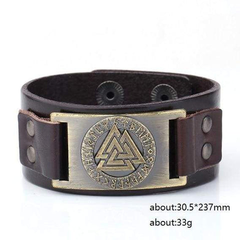 Image of Valknut Leather Bracelet - Antique Bronze Dark Brown Belt - Wrap Bracelets Accessories Bracelet Jewelry Viking Vikings