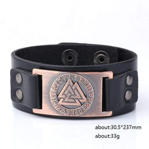 Image of Valknut Leather Bracelet - Antique Cooper - Wrap Bracelets Accessories Bracelet Jewelry Viking Vikings