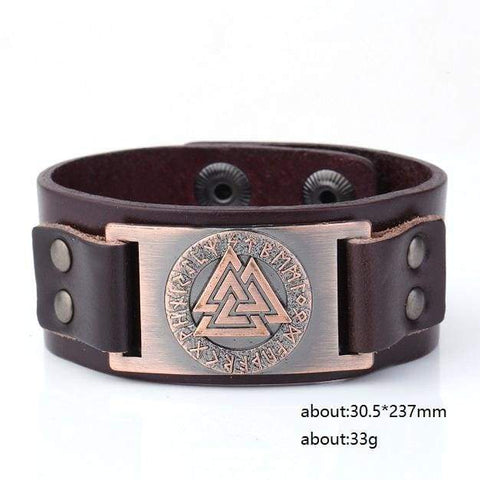 Image of Valknut Leather Bracelet - Antique Cooper Dark Brown Belt - Wrap Bracelets Accessories Bracelet Jewelry Viking Vikings