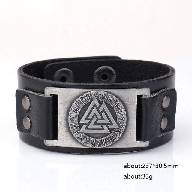Valknut Leather Bracelet - Sliver Plated - Wrap Bracelets Accessories Bracelet Jewelry Viking Vikings