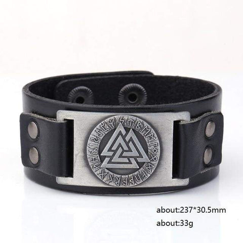 Image of Valknut Leather Bracelet - Sliver Plated - Wrap Bracelets Accessories Bracelet Jewelry Viking Vikings